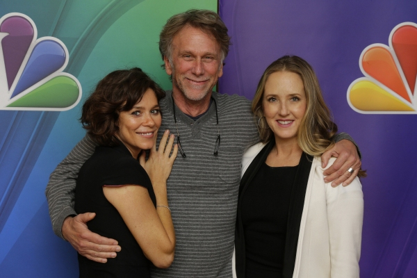 "ODYSSEY â€"" Pictured: Anna Friel, Peter Horton, Jennifer Salke; President, NBC Entertainment."