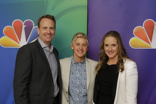 ONE BIG HAPPY -- Pictured: Bob Greenblatt; Chairman, NBC Entertainment; Ellen DeGeneres; Executive Producer, Jennifer Salke; President, NBC Entertainment.