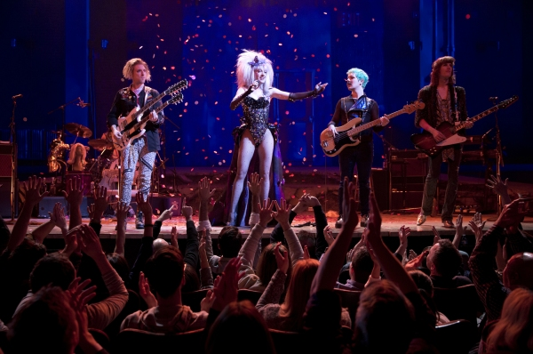 Tim Misclock on guitar, Lena Hall as Yitzhak, Matt Duncan on bass and music director Justin Craig on guitar