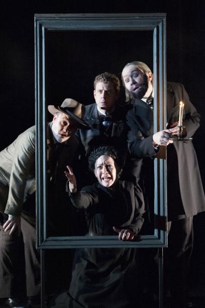 (Clockwise from left) Michael Glenn, Lucas Hall as Doctor Watson, Stanley Bahorek and Jane Pfitsch