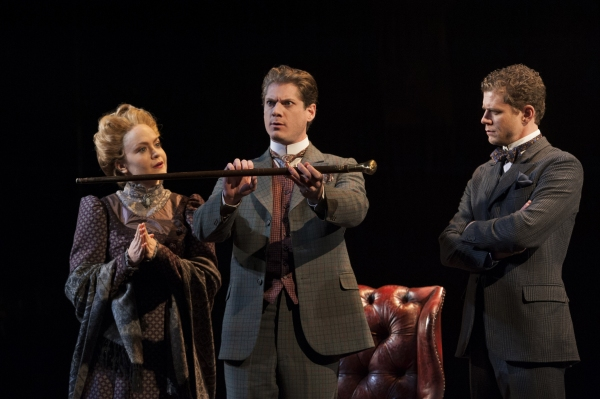 Jane Pfitsch, Gregory Wooddell as Sherlock Holmes and Lucas Hall as Doctor Watson