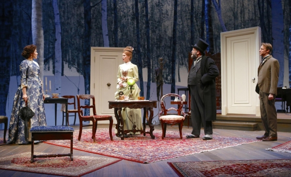 Marianna McClellan (Catherine Givings), Kate MacCluggage (Sabrina Daldry), Brian Keane (Mr. Daldry), and Christopher Kelly (Dr. Givings)