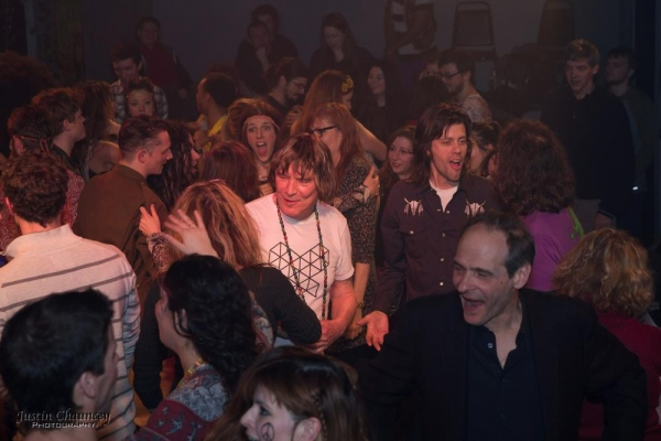 Jim Rado joins the cast of HAIR and the audience for the dance party Photo