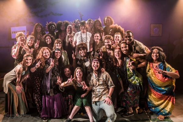 Jim Rado with the cast of HAIR