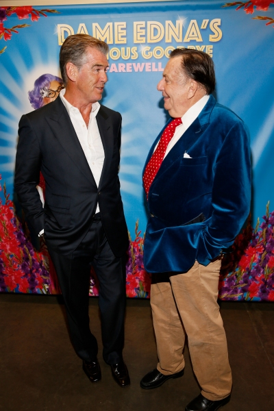 Actor Pierce Brosnan and Dame Edna creator and performer Barry Humphries