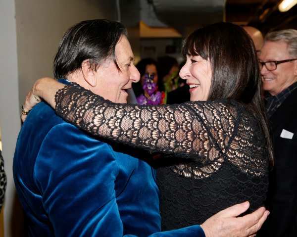 Dame Edna creator and performer Barry Humphries  celebrates with actress Anjelica Huston