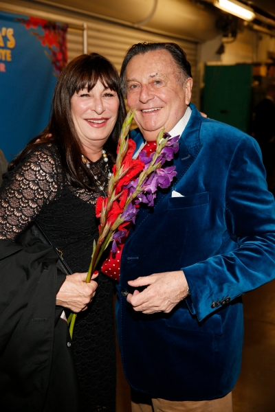 Actress Anjelica Huston and Dame Edna creator and performer Barry Humphries Photo