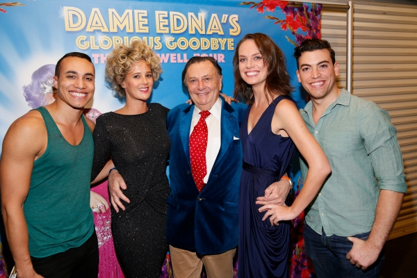 Cast members Armando Yearwood, Jr., Eve Prideaux, Barry Humphries, Brooke Pascoe and Ralph Coppola