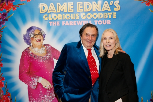 Dame Edna creator and performer Barry Humphries and actress Victoria Tennant Photo