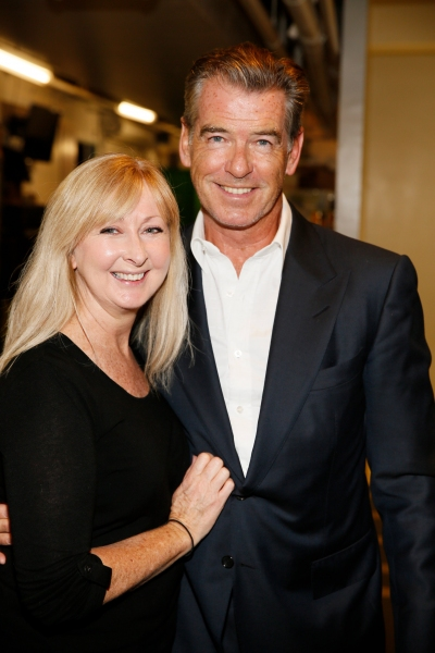 Wardrobe and makeup artist Leigh Evans and actor Pierce Brosnan
