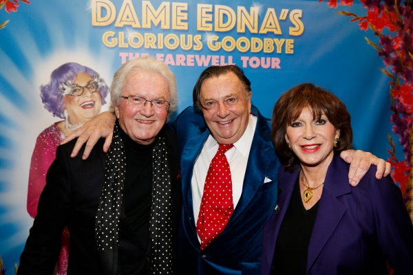 Composer Leslie Bricusse, Dame Edna creator and performer Barry Humphries and Yvonne  Photo