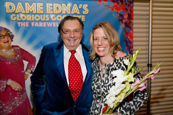 Dame Edna creator and performer Barry Humphries and Mary Melton, Los Angeles Magazine Editor-in-Chief