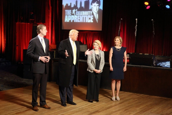 CELEBRITY APPRENTICE -- Episode 1411 -- Pictured: (l-r) Eric Trump, Donald Trump, Joan Rivers, Megan Beckemeier -- (Photo by: Douglas Gorenstein/NBC)