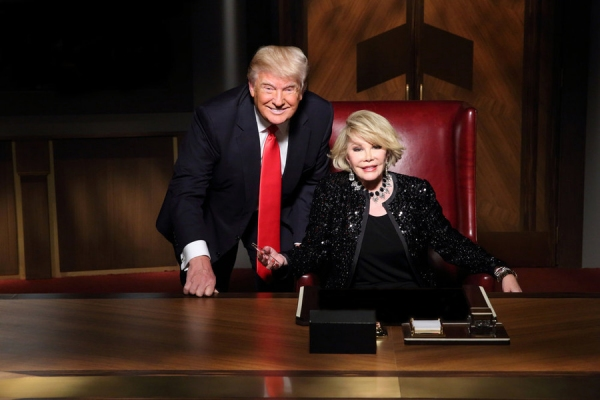 CELEBRITY APPRENTICE -- Episode 1411 -- Pictured: (l-r) Donald Trump, Joan Rivers -- (Photo by: Douglas Gorenstein/NBC)