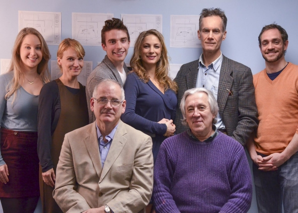 (Seated, l-r): Playwright Iddo Netanyahu, and director Alex Dmitriev with the cast (standingl-r) Allison Siko, Lori Gardner, Phil Gillen, Carmit Levité, Curzon Dobell, and Joel Ripka.