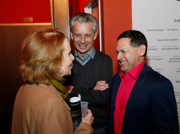 Actress Kate Burton and CTG Artistic Director celebrate with cast member Ric Salinas