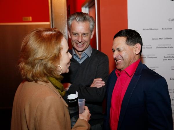 Actress Kate Burton and CTG Artistic Director celebrate with cast member Ric Salinas