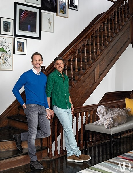 Neil Patrick Harris and David Burtka with their dogs, Watson and Fred, in their New York City townhouse.