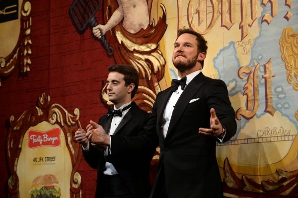 Chris Pratt performs in a skit with Joshua Friedman