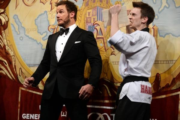 Chris Pratt performs in a skit with Sam Clark