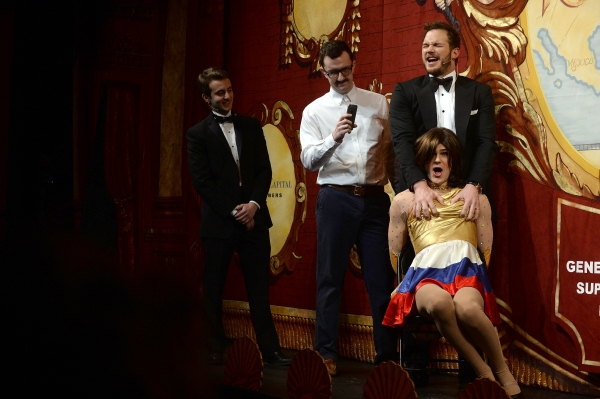 Chris Pratt performs in a skit with Matt Walker and Larkin McCann