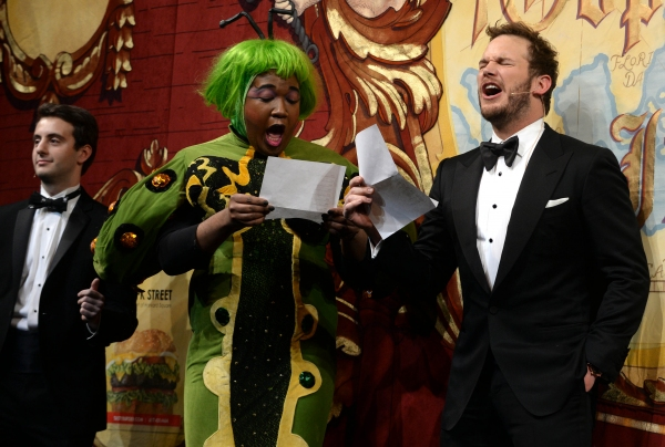 Chris Pratt performs in a skit with Joshua Campbell