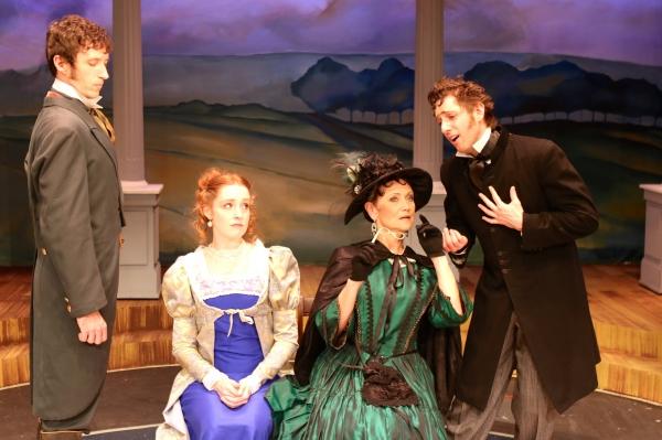 Paul Turbiak (Mr. Darcy), Greyson Chadwick (Elizabeth Bennet), Lori Berg (Lady Cather Photo