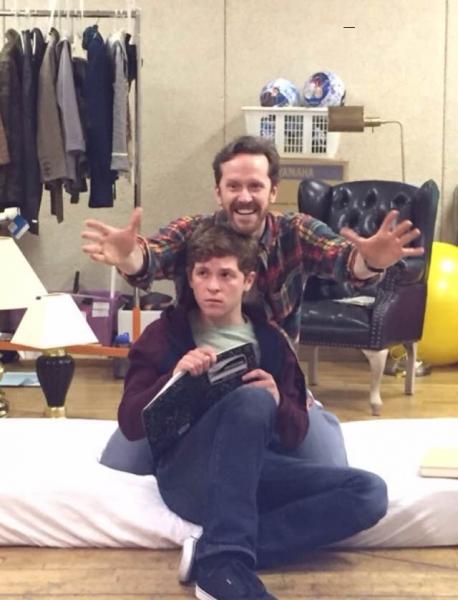 Jeffry Denman and Jake Winn rehearse a scene from Kid Victory. Photo by Chris Dieman.