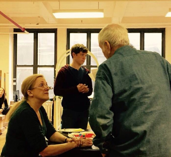 Donna Migliaccio and John Kander discuss a song in Kid Victory. Photo by Jake Winn.