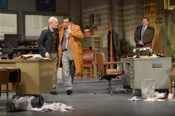 "James Lingk (Dan Leonard) and Richard ""Ricky� Roma (Peter Allas) converse as Shelly ""The Machine"" Levene (Rob Donohoe)"