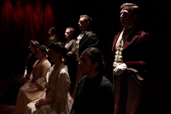 sitting: Anastasia Olowin (Cathy), Lauren Swan-Potras (Jo), Kelly Rogers (Lizzy), Sam Corbin (Jane) standing: Harlan Alford (Heathcliff), Nathaniel Basch-Gould (Laurie), Preston Martin (Darcy), Jon Riddleberger (Rochester)