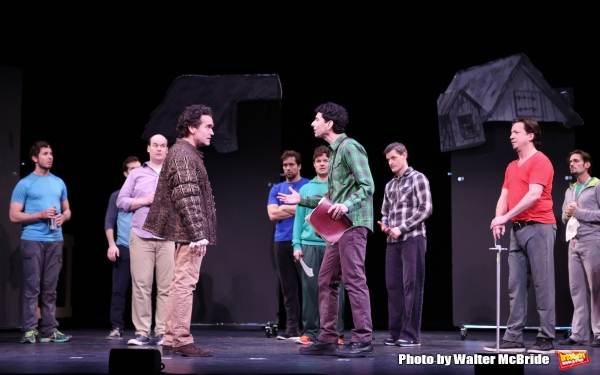 Brian D'Arcy James and John Cariani with the cast