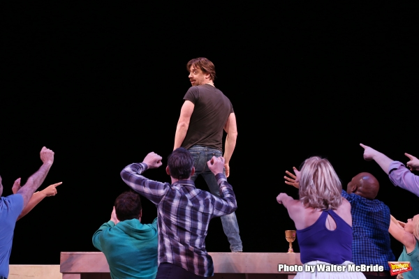 Christian Borle with the cast during a rehearsal presentation of 'Something Rotten! A Very New Musical'  at the Little Shubert Theatre on February 17, 2015 in New York City.
