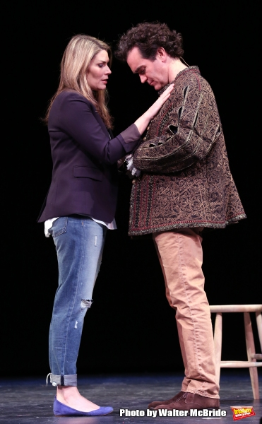 Heidi Blickenstaff and Brian D'Arcy James during a rehearsal presentation of 'Something Rotten! A Very New Musical'  at the Little Shubert Theatre on February 17, 2015 in New York City.