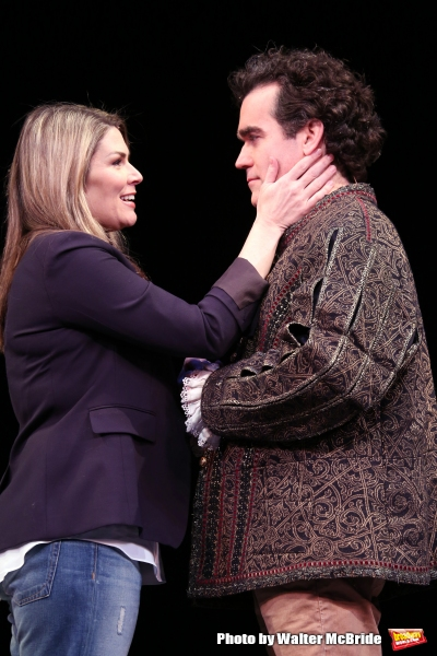Heidi Blickenstaff and Brian D''Arcy James during a rehearsal presentation of ''Something Rotten! A Very New Musical''  at the Little Shubert Theatre on February 17, 2015 in New York City.