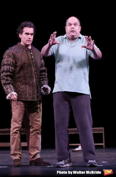 Brian D''Arcy James and Brad Oscar during a rehearsal presentation of ''Something Rotten! A Very New Musical''  at the Little Shubert Theatre on February 17, 2015 in New York City.