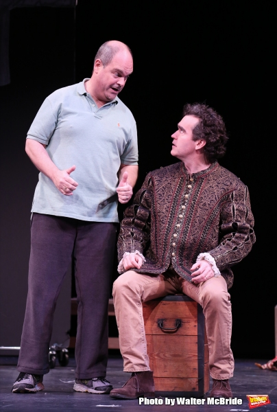 Brad Oscar and Brian D''Arcy James during a rehearsal presentation of ''Something Rotten! A Very New Musical''  at the Little Shubert Theatre on February 17, 2015 in New York City.
