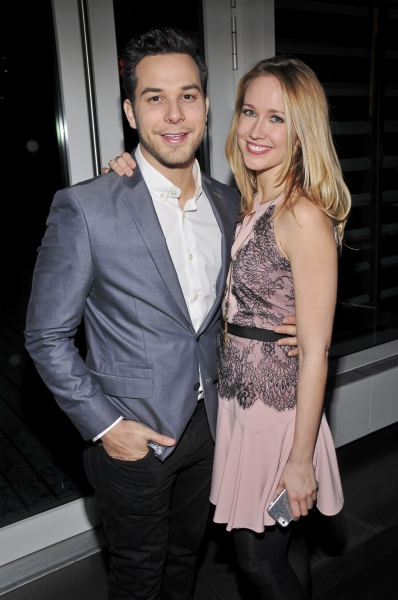 Anna Camp celebrates with her Pitch Perfect co-star and longtime boyfriend Skylar Astin