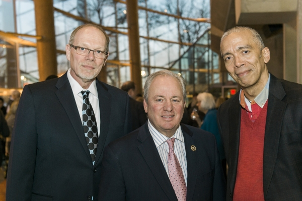 Arena Stage Executive Producer Edgar Dobie, Congressman Mike Doyle and director Timothy Douglas