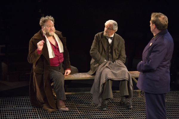Ron Orbach as Moishe Bretzky, Hal Linden as Yevgeny Zunser, and Robert Dorfman as Vasily Korinsky