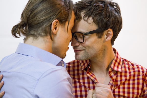 Jude Hansen and Kevin Webb in rehearsal for Pride Films and Plays' production of ANGRY FAGS