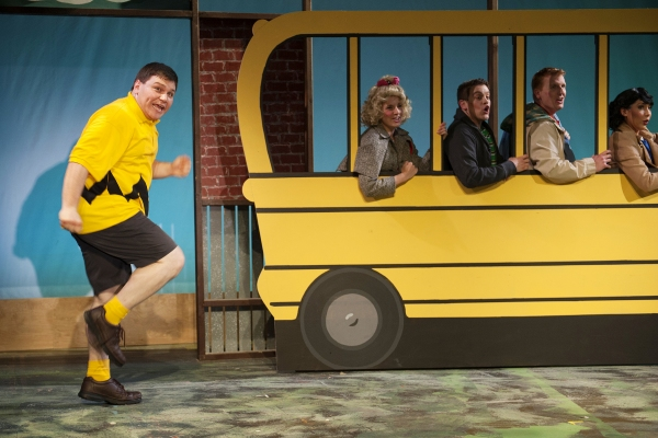 Poor Charlie Brown (L. Zac Schuman) missed the bus again as his friends (Harmony Livingston, Danny Quezada, Kevin Hammond, Ashley Cowl*) encourage him to run a little faster