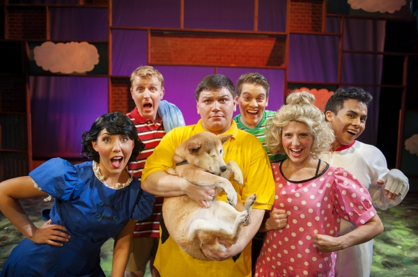 The cast of You''re a Good Man, Charlie Brown (Clockwise Zac Schuman, Danny Quezada, Alex Rodriguez, Harmony Livingston, Ashley Cowl*, Kevin Hammond) with rescued puppy, Pirate Jenny.  Berkeley Playhouse is teaming with Berkeley Humane for the run of You'