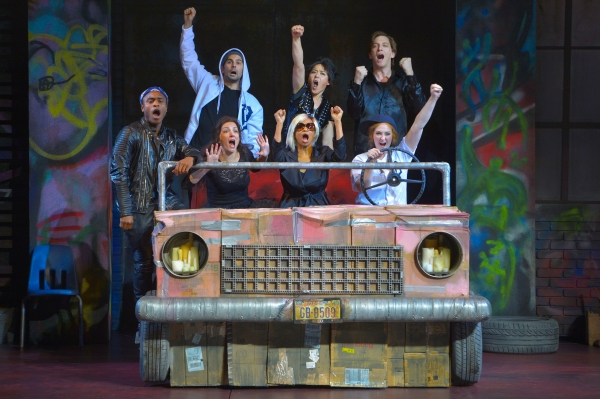 The company of Mr. Burns, a post-electric play rehearses 'Chart Hits' in post-apocalyptic Northern California. Bottom row: CHARITY JONES, TRACY A. LEIGH, KELSEY VENTER; Top row: RYAN WILLIAMS FRENCH, NICK GABRIEL, ANNA ISHIDA, JIM LICHTSCHEIDL.