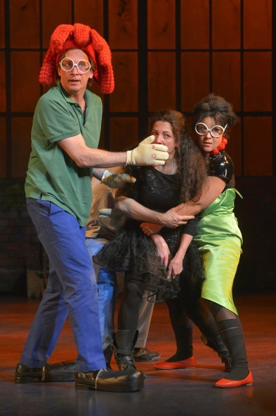 JIM LICHTSCHEIDL, CHARITY JONES, and ANNA ISHDA rehearse for a performance of 'Cape Feare' in post-apocalyptic Northern California