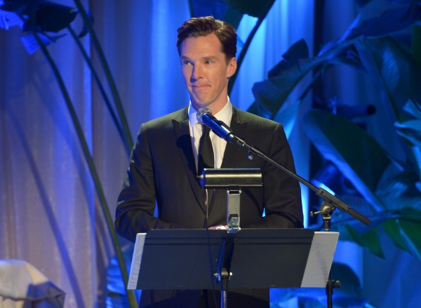 LOS ANGELES, CA - FEBRUARY 21:  Actor Benedict Cumberbatch speaks onstage during The Weinstein Company's Academy Awards Nominees Dinner in partnership with Chopard, DeLeon Tequila, FIJI Water and MAC Cosmetics on February 21, 2015 in Los Angeles, Califor