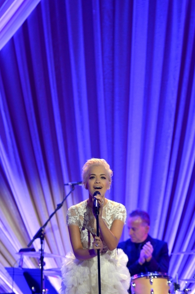LOS ANGELES, CA - FEBRUARY 21:  Recording artist Rita Ora performs onstage during The Weinstein Company's Academy Awards Nominees Dinner in partnership with Chopard, DeLeon Tequila, FIJI Water and MAC Cosmetics on February 21, 2015 in Los Angeles, Califo