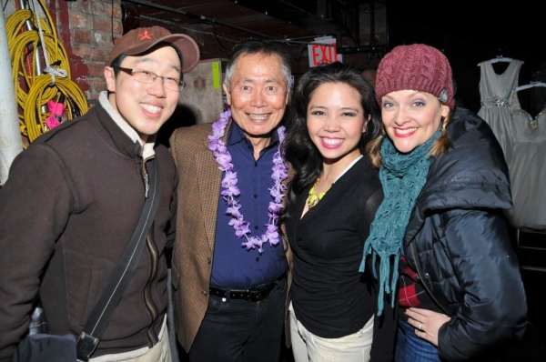 George Takei with ALLEGIANCE friends and HONEYMOON cast members Raymond J. Lee, Catherine Ricafort and Gaelen Gilliand