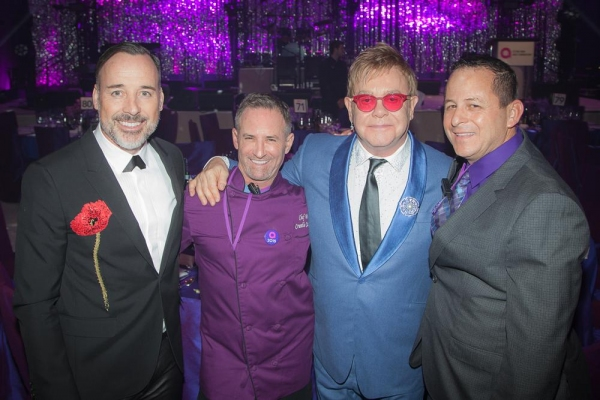 David Furnish, Chef Wayne Elias, Elton John and Chris Diamond