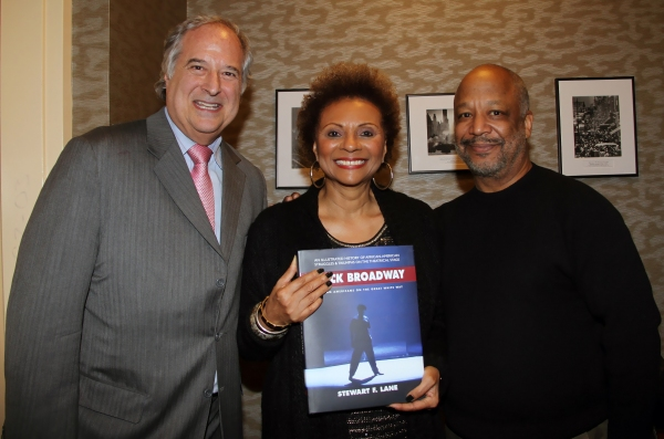 Stewart F. Lane, Leslie Uggams and Sheldon Epps with Lane's new book, Black Broadway, Photo